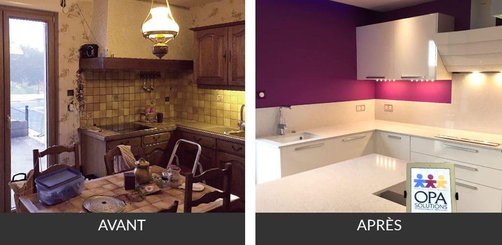 Cuisine sur mesure en chantier : peinture, plafond tendu Barrisol, mobilier de cuisine ARAN, éclairage intégré, électroménager
