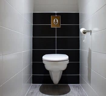 Toilettes séparés refaits à neuf : carrelage mural, sol en grès cérame imitation bois, plafond tendu Barrisol et éclairage